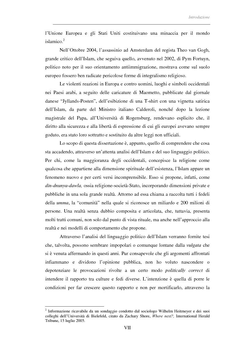 Anteprima della tesi: Il linguaggio politico dell'Islam, Pagina 2