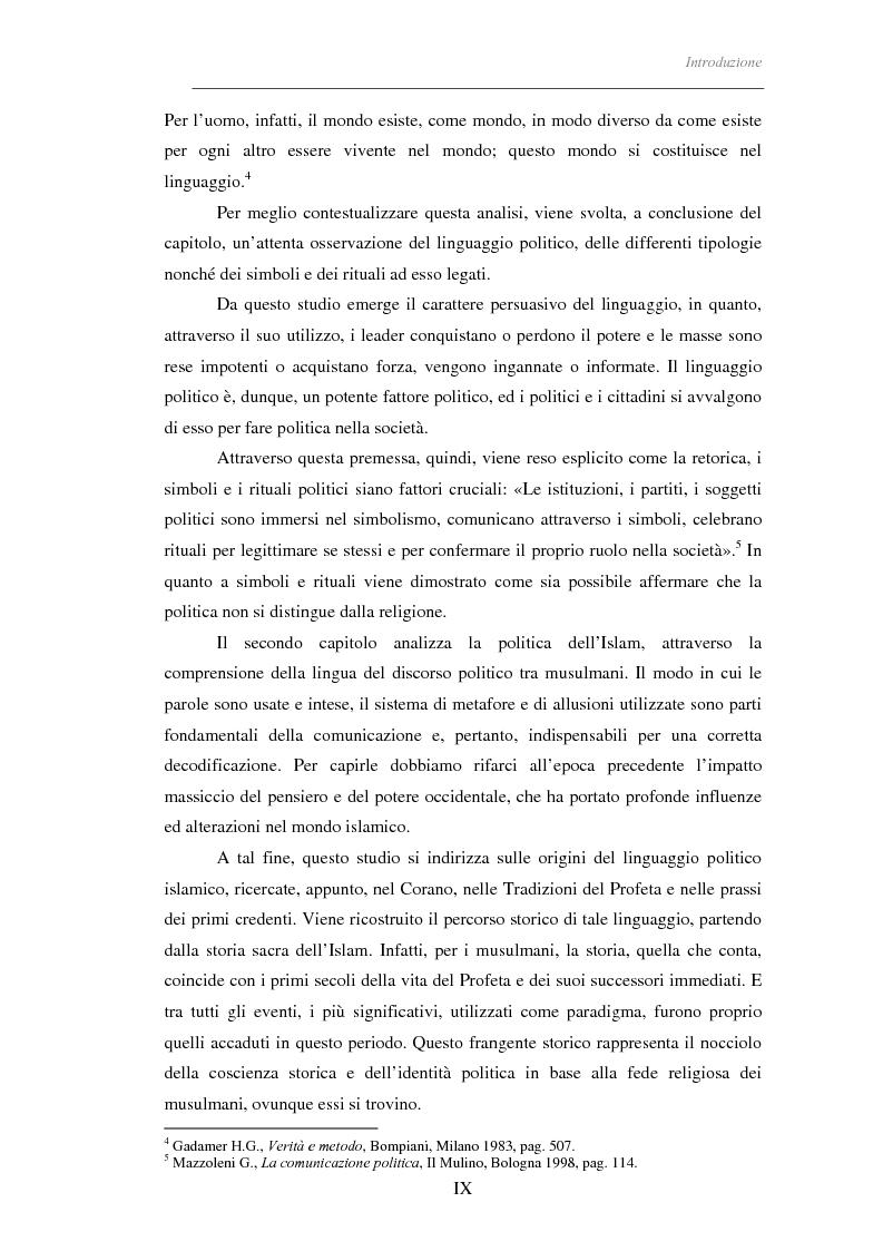Anteprima della tesi: Il linguaggio politico dell'Islam, Pagina 4