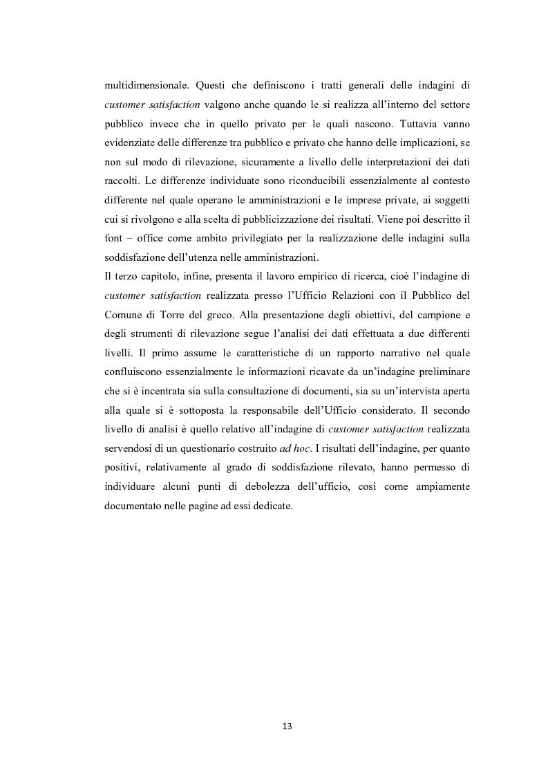 Anteprima della tesi: L'amministrazione che ascolta. Analisi della customer satisfaction degli utenti dell'Urp del comune di Torre del greco, Pagina 10