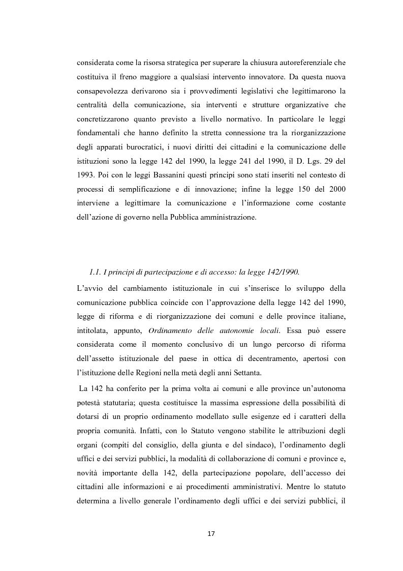 Anteprima della tesi: L'amministrazione che ascolta. Analisi della customer satisfaction degli utenti dell'Urp del comune di Torre del greco, Pagina 14