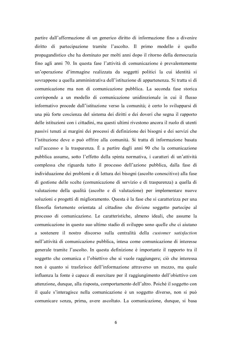 Anteprima della tesi: L'amministrazione che ascolta. Analisi della customer satisfaction degli utenti dell'Urp del comune di Torre del greco, Pagina 3