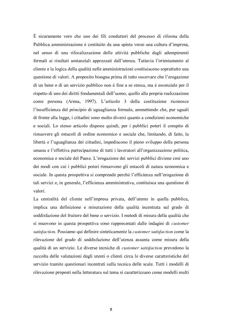 Anteprima della tesi: L'amministrazione che ascolta. Analisi della customer satisfaction degli utenti dell'Urp del comune di Torre del greco, Pagina 5