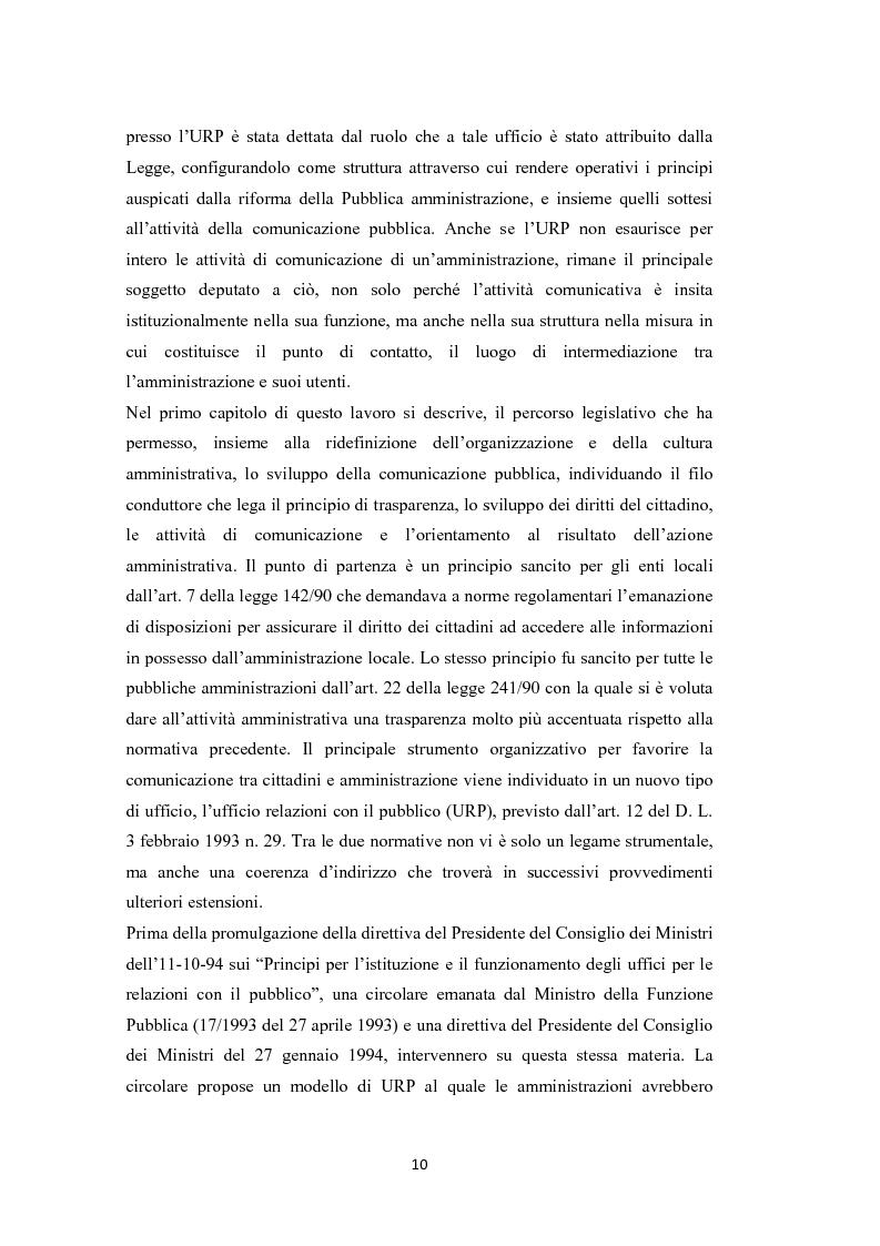 Anteprima della tesi: L'amministrazione che ascolta. Analisi della customer satisfaction degli utenti dell'Urp del comune di Torre del greco, Pagina 7