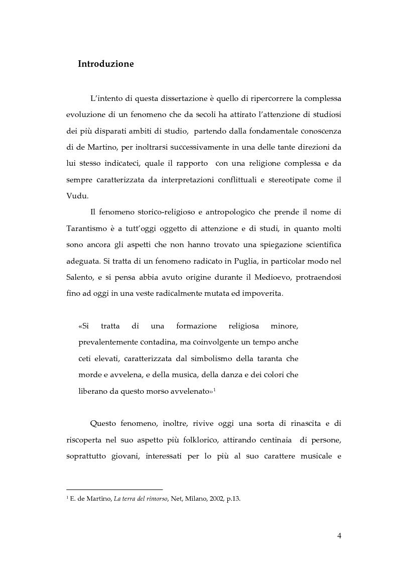 Anteprima della tesi: Dal rito della taranta al vudu haitiano: analisi di alcuni paralleli etnografici nell'opera di de Martino, Pagina 1