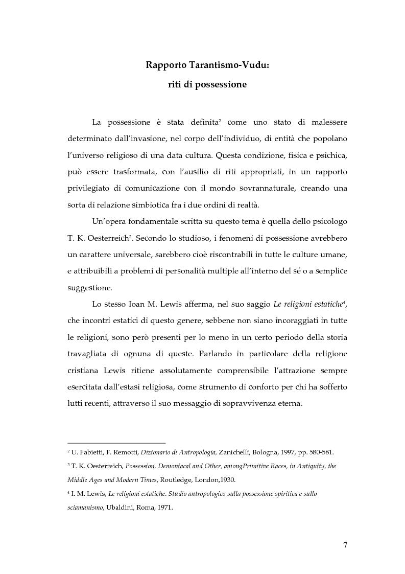 Anteprima della tesi: Dal rito della taranta al vudu haitiano: analisi di alcuni paralleli etnografici nell'opera di de Martino, Pagina 4