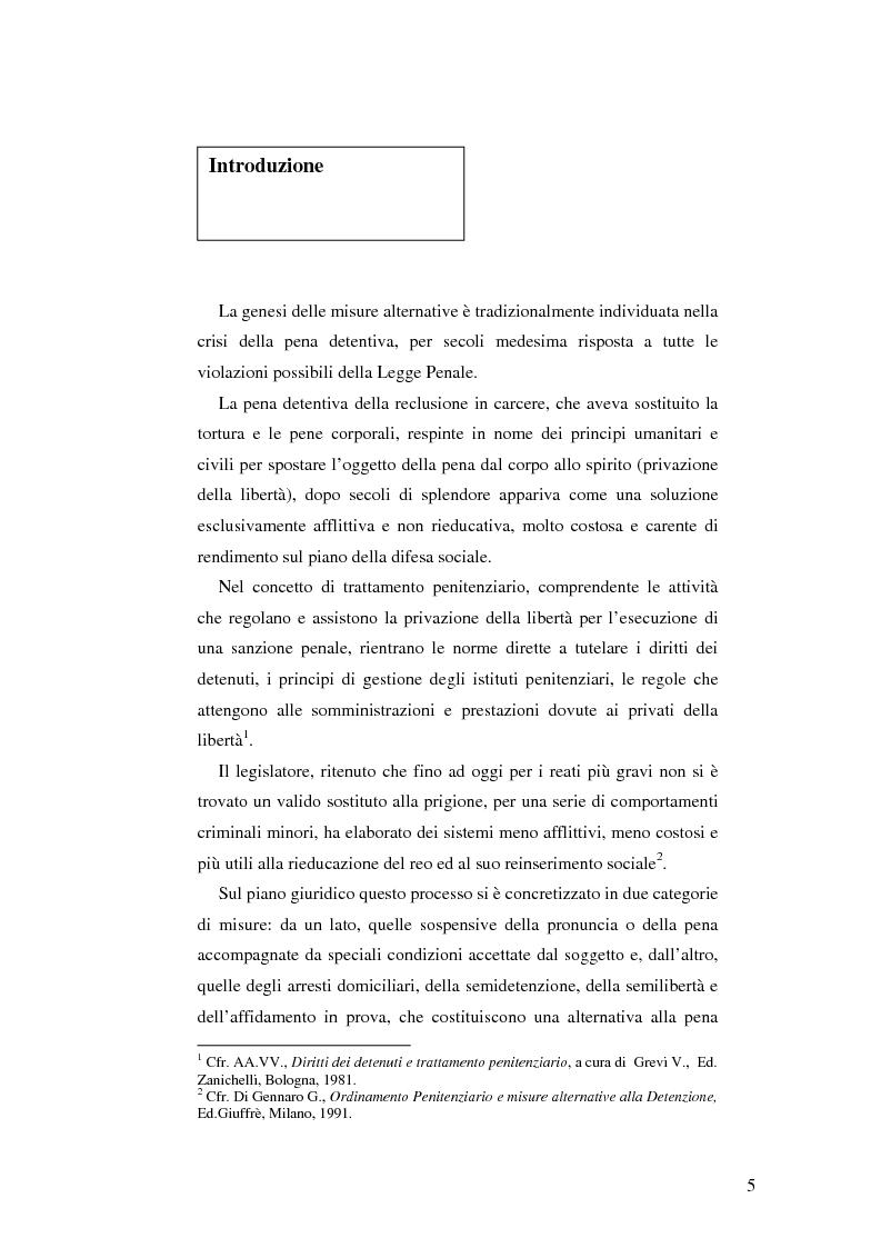 Anteprima della tesi: Realtà applicativa delle misure alternative alla pena e risocializzazione del reo, Pagina 1