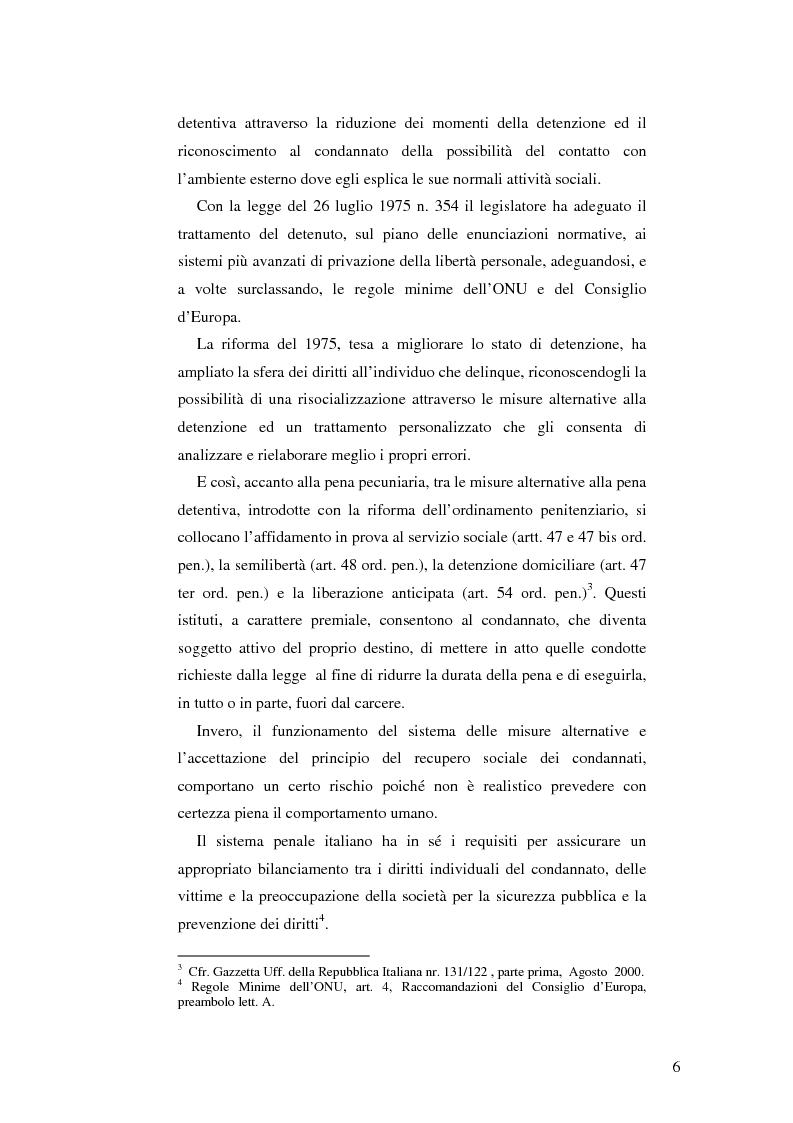Anteprima della tesi: Realtà applicativa delle misure alternative alla pena e risocializzazione del reo, Pagina 2