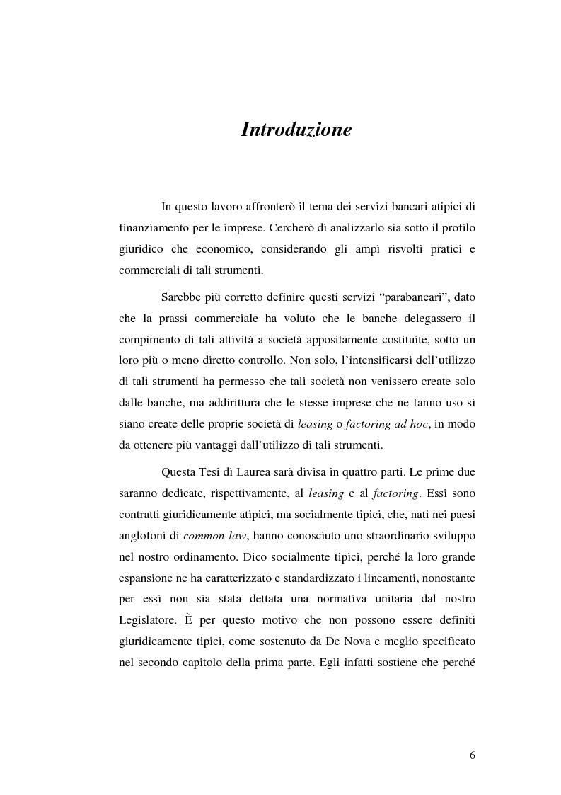 Anteprima della tesi: I servizi bancari atipici di finanziamento per le imprese, Pagina 1