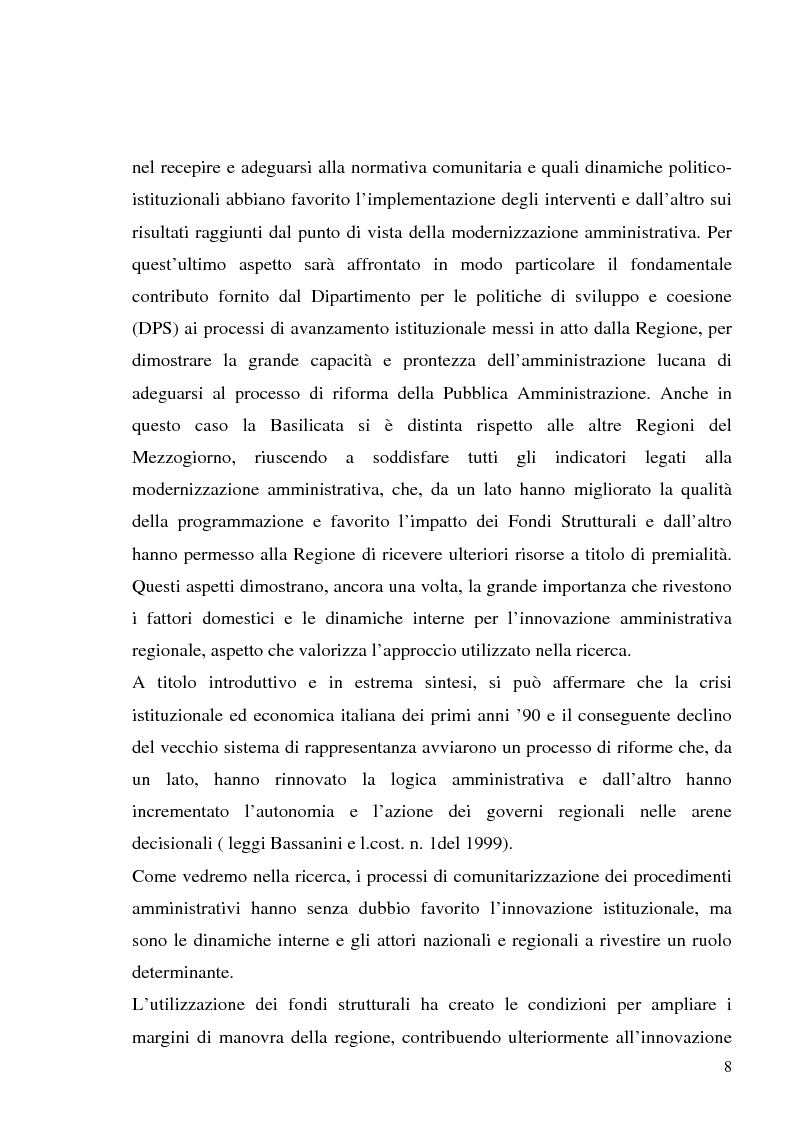 Anteprima della tesi: I fondi strutturali in Basilicata: un caso di successo, Pagina 4