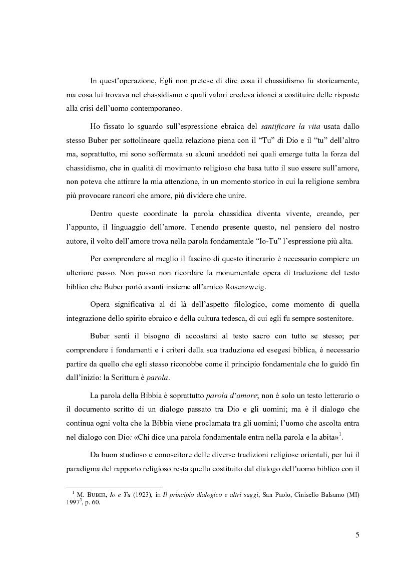 Anteprima della tesi: L'uomo esiste nella parola e nell'amore (un itinerario esemplare: in dialogo con Martin Buber), Pagina 2