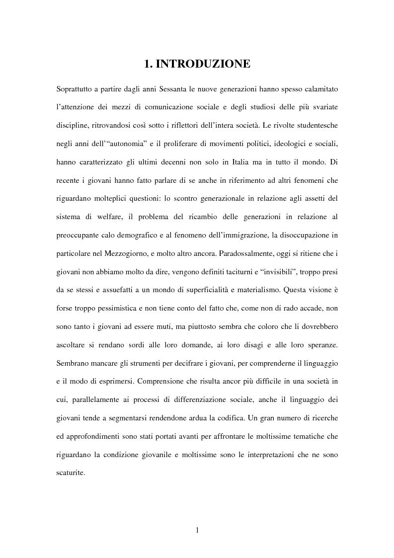 Anteprima della tesi: La condizione giovanile a Verona, Pagina 1