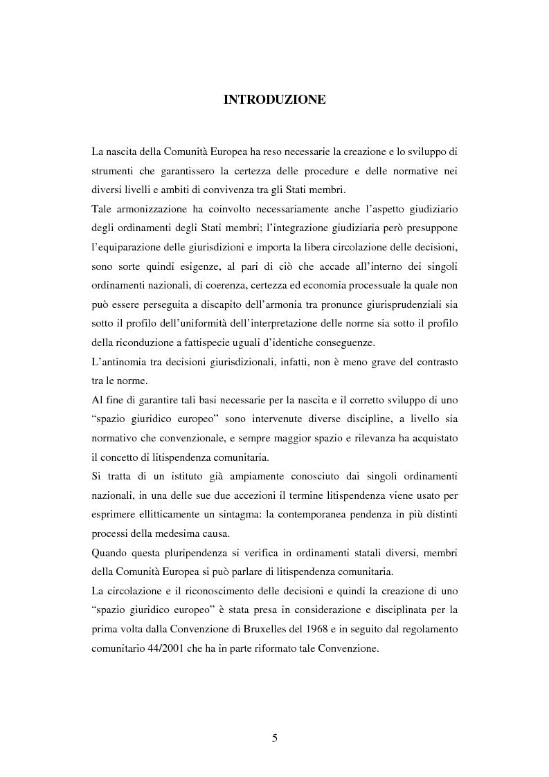 Anteprima della tesi: Profili della litispendenza transnazionale in relazione al cosiddetto forum non conveniens, Pagina 1