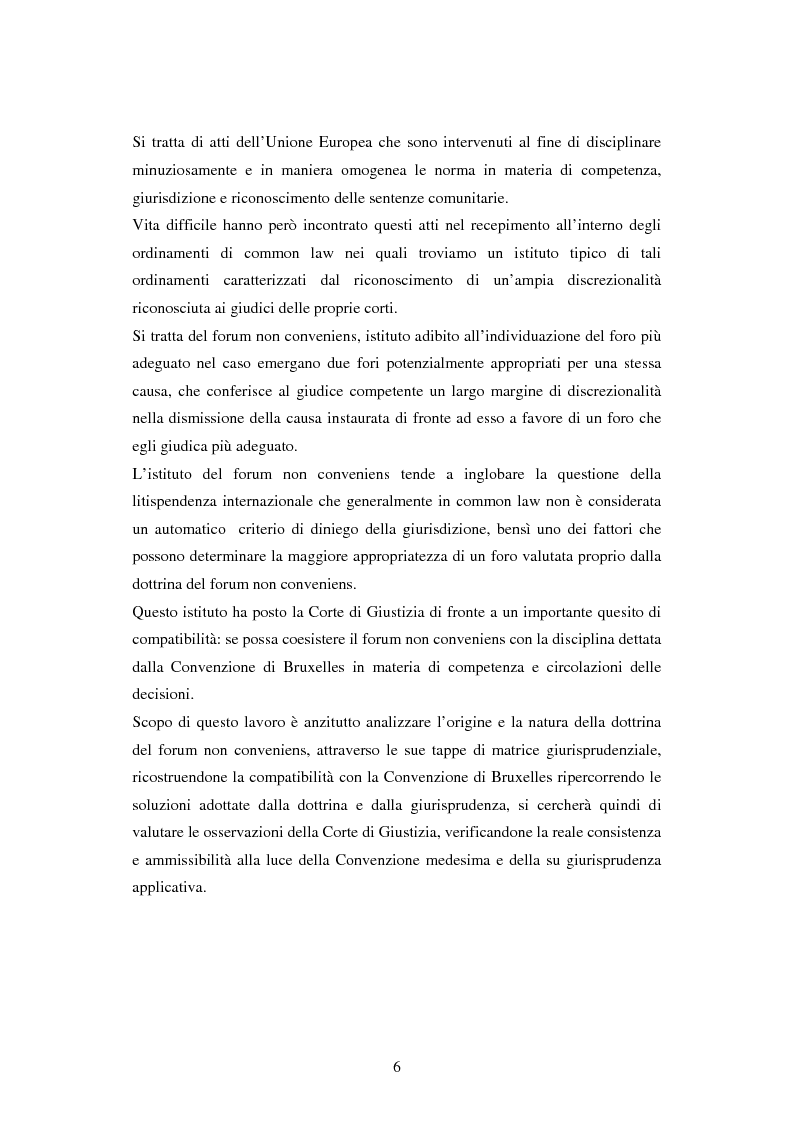 Anteprima della tesi: Profili della litispendenza transnazionale in relazione al cosiddetto forum non conveniens, Pagina 2