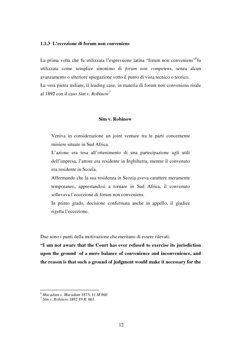 Anteprima della tesi: Profili della litispendenza transnazionale in relazione al cosiddetto forum non conveniens, Pagina 8