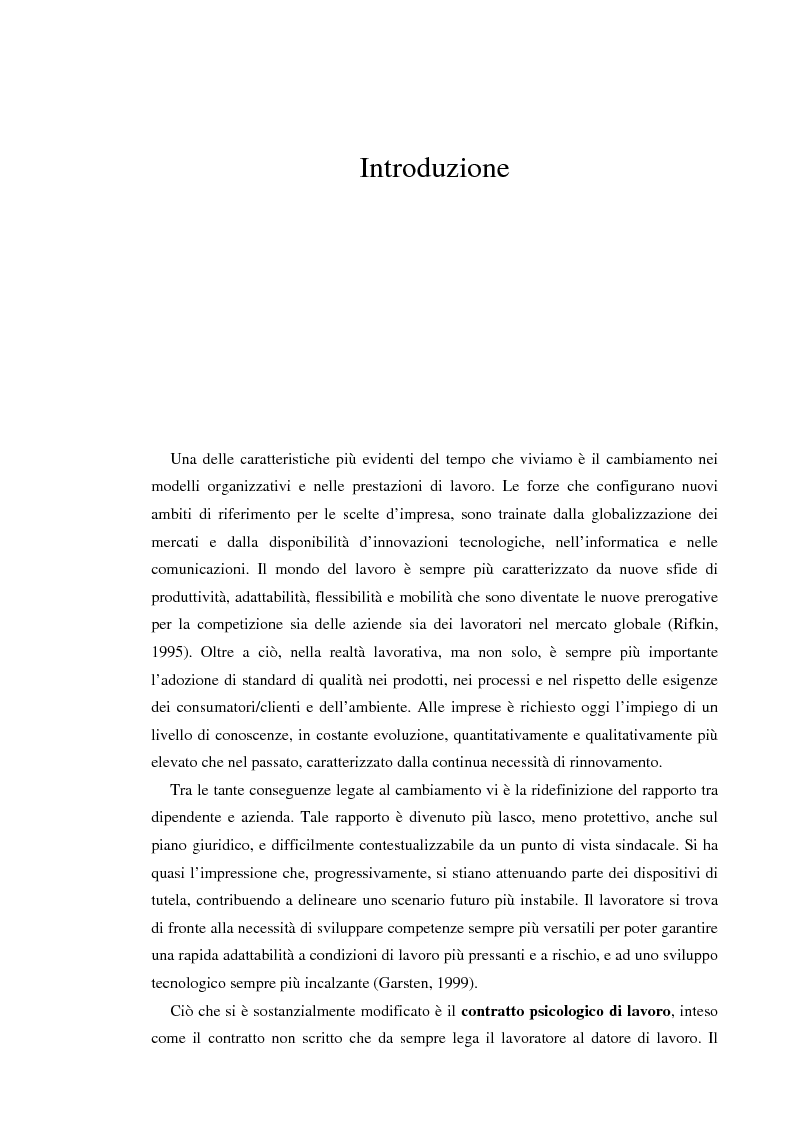 Anteprima della tesi: Il contratto psicologico nelle moderne organizzazioni, Pagina 1