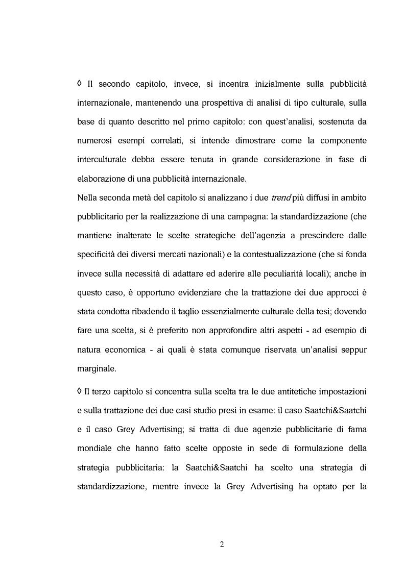 Anteprima della tesi: La comunicazione interculturale nella pubblicità internazionale: il caso Saatchi & Saatchi e il caso Grey Advertising, Pagina 2