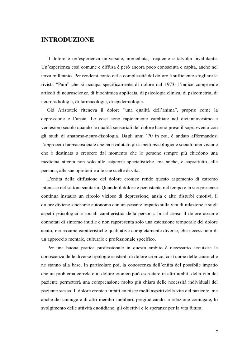 Anteprima della tesi: Aspetti psicologici e relazionali del dolore cronico, Pagina 1