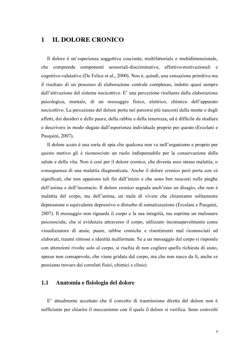 Anteprima della tesi: Aspetti psicologici e relazionali del dolore cronico, Pagina 3