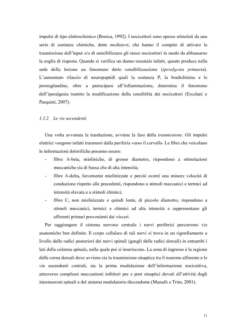 Anteprima della tesi: Aspetti psicologici e relazionali del dolore cronico, Pagina 5