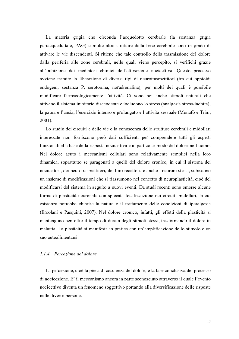 Anteprima della tesi: Aspetti psicologici e relazionali del dolore cronico, Pagina 7