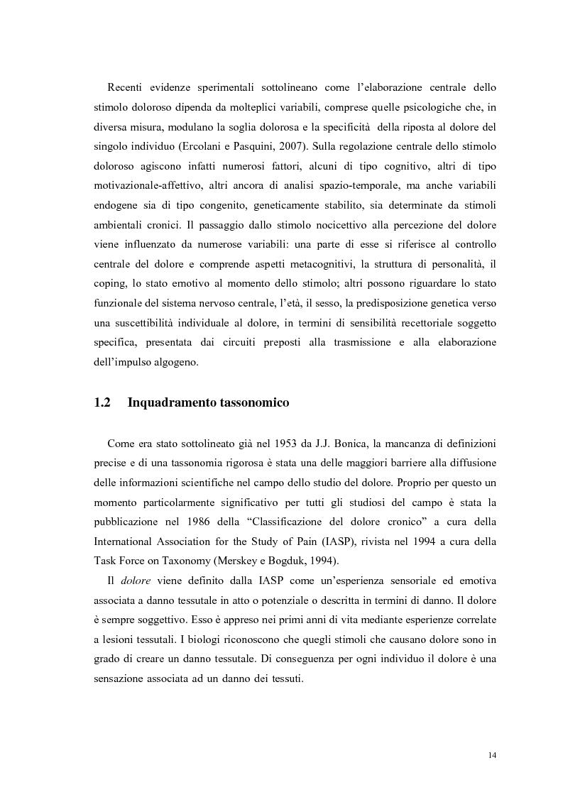 Anteprima della tesi: Aspetti psicologici e relazionali del dolore cronico, Pagina 8