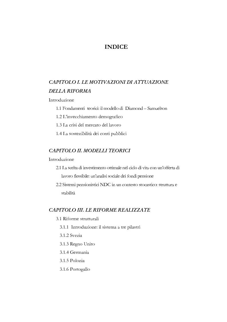 Indice della tesi: La riforma dei sistemi pensionistici europei, Pagina 1