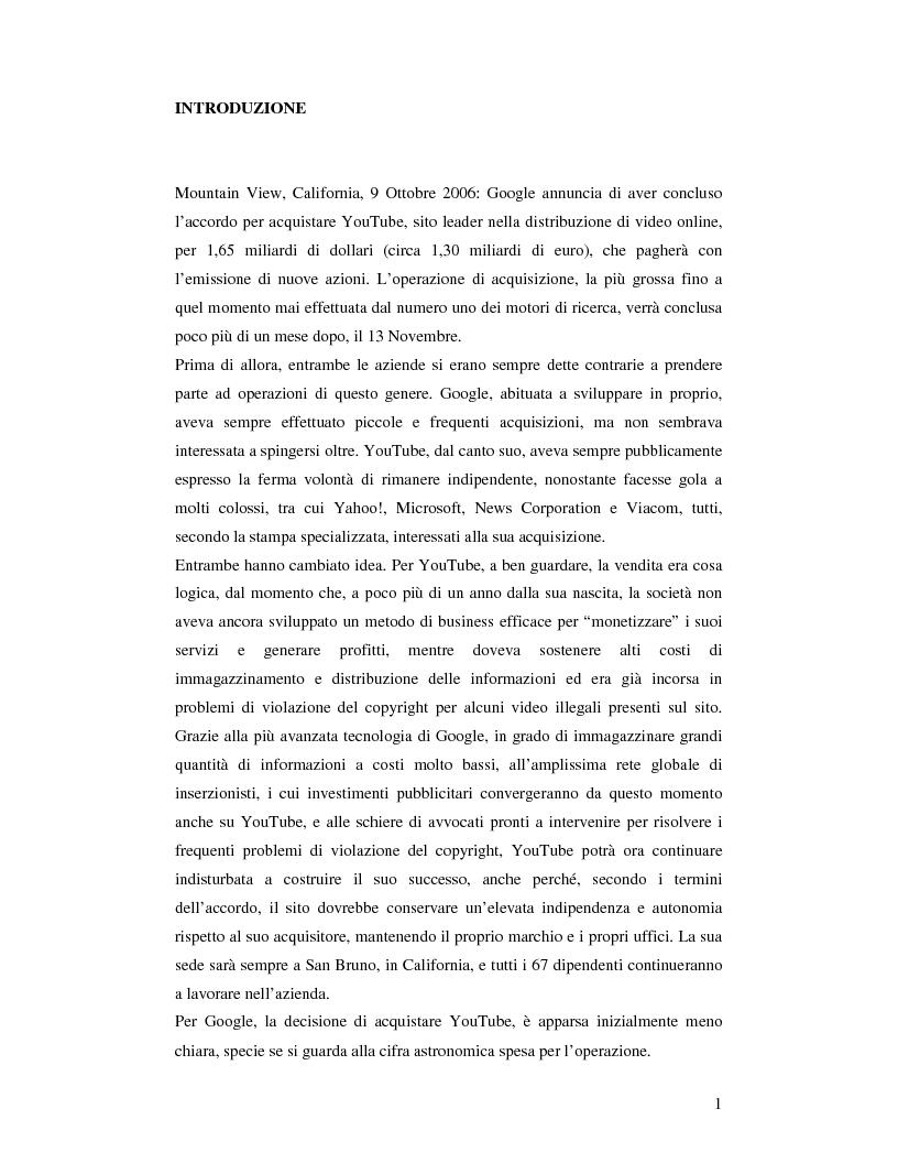 Anteprima della tesi: Convergenza e nuovi equilibri nel Web 2.0: il caso Google-YouTube, Pagina 1