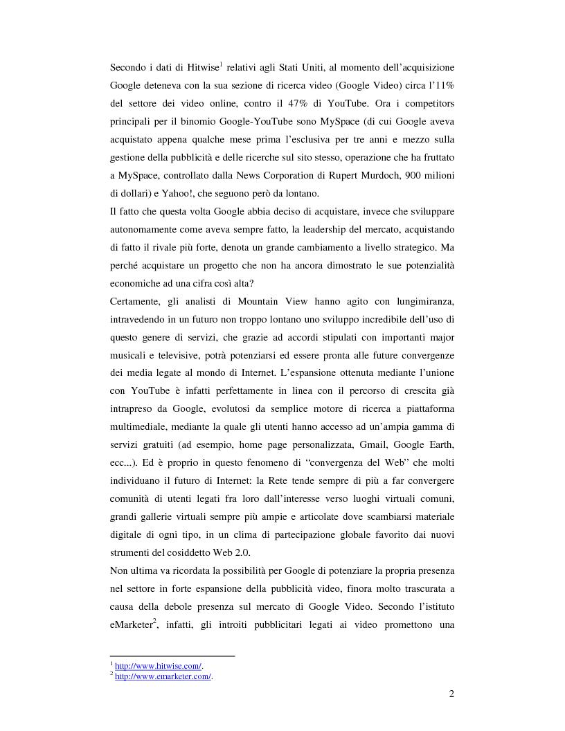 Anteprima della tesi: Convergenza e nuovi equilibri nel Web 2.0: il caso Google-YouTube, Pagina 2