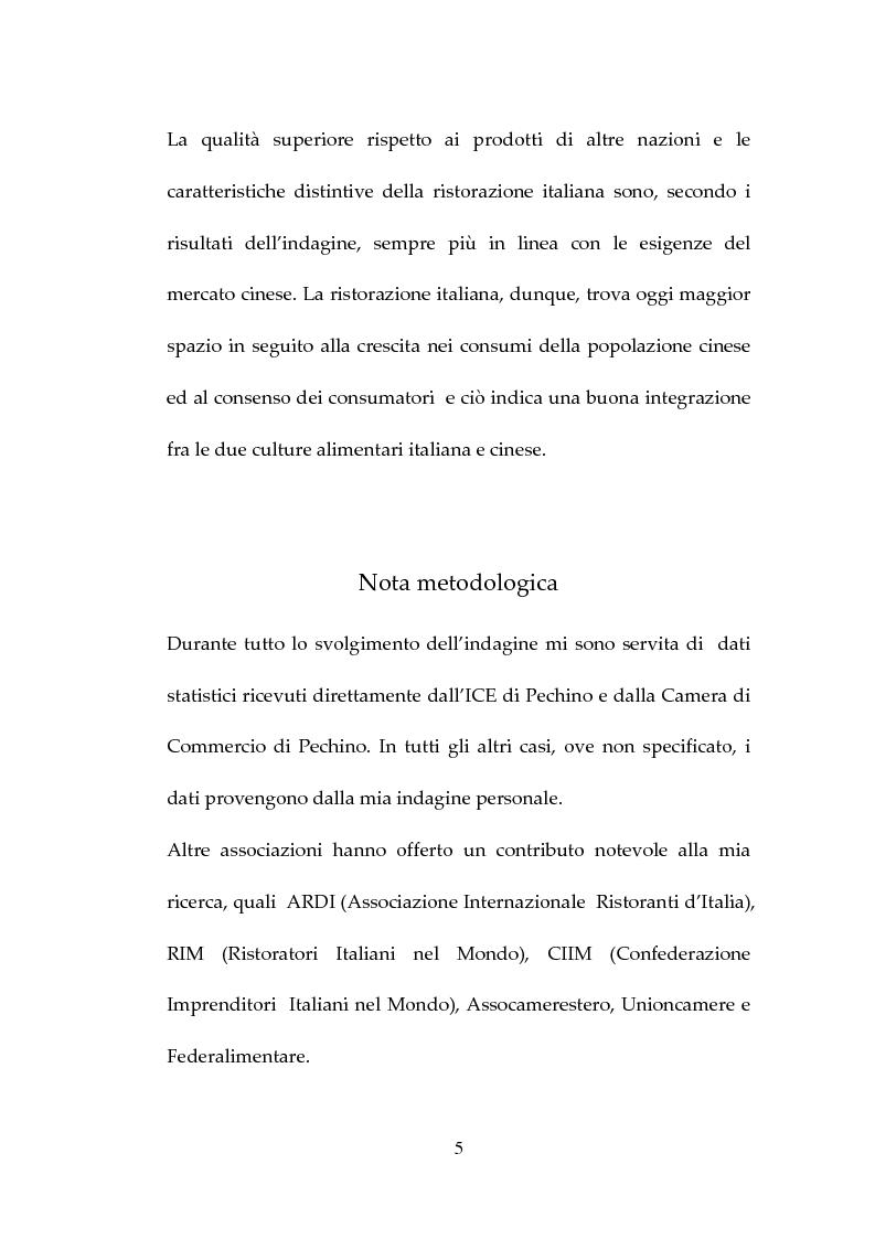 Anteprima della tesi: Percezione, target e strategie della ristorazione italiana a Pechino, Pagina 5