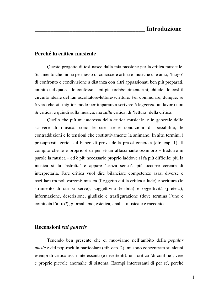 Anteprima della tesi: «Paesaggi immaginari»: critica ufonica e discografia potenziale - Recensioni e dischi (im)possibili nel giornalismo rock, Pagina 1