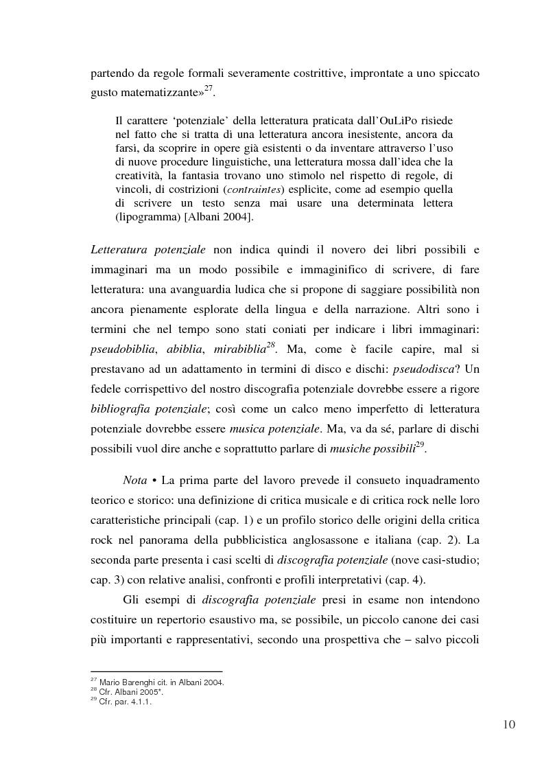 Anteprima della tesi: «Paesaggi immaginari»: critica ufonica e discografia potenziale - Recensioni e dischi (im)possibili nel giornalismo rock, Pagina 10