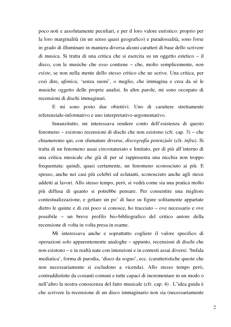 Anteprima della tesi: «Paesaggi immaginari»: critica ufonica e discografia potenziale - Recensioni e dischi (im)possibili nel giornalismo rock, Pagina 2