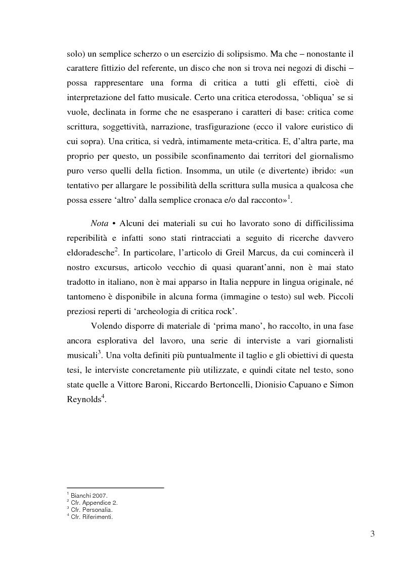 Anteprima della tesi: «Paesaggi immaginari»: critica ufonica e discografia potenziale - Recensioni e dischi (im)possibili nel giornalismo rock, Pagina 3