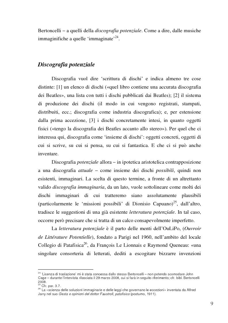 Anteprima della tesi: «Paesaggi immaginari»: critica ufonica e discografia potenziale - Recensioni e dischi (im)possibili nel giornalismo rock, Pagina 9