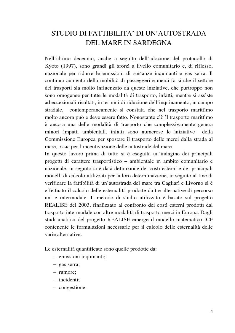 Anteprima della tesi: Studio di fattibilità di un'autostrada del mare in Sardegna, Pagina 1