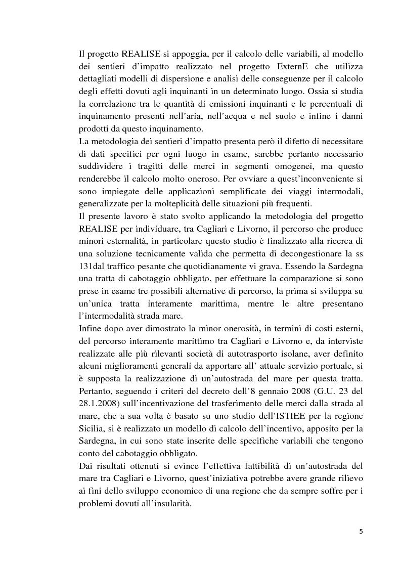 Anteprima della tesi: Studio di fattibilità di un'autostrada del mare in Sardegna, Pagina 2