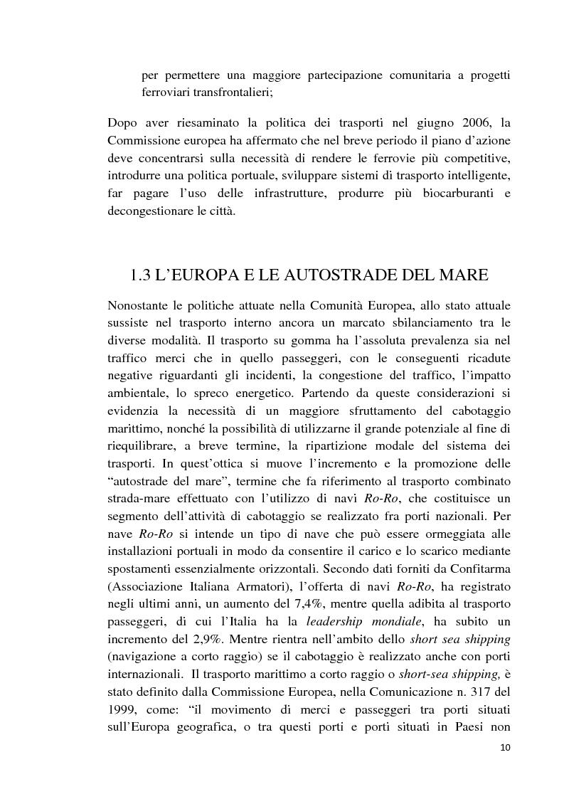 Anteprima della tesi: Studio di fattibilità di un'autostrada del mare in Sardegna, Pagina 7