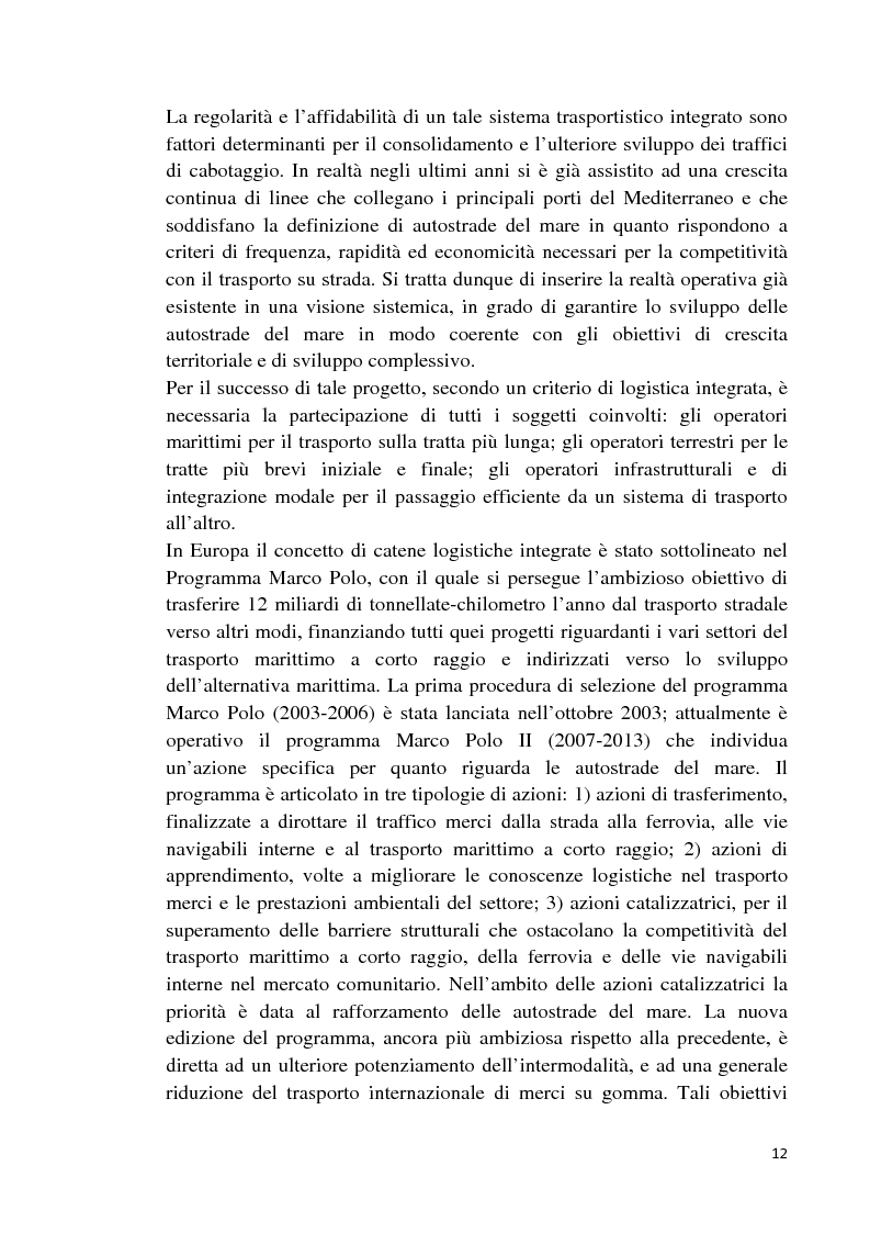Anteprima della tesi: Studio di fattibilità di un'autostrada del mare in Sardegna, Pagina 9