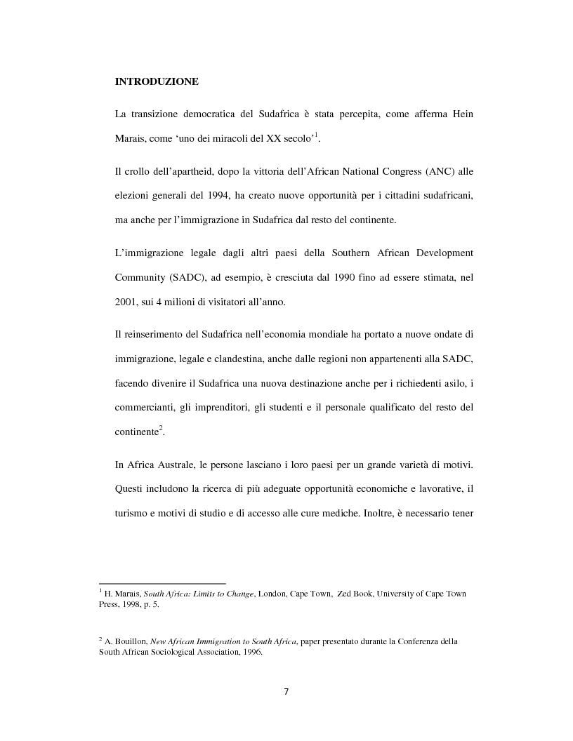 Anteprima della tesi: Sognando la Machamba. L'immigrazione mozambicana nel Sudafrica post-apartheid, Pagina 1
