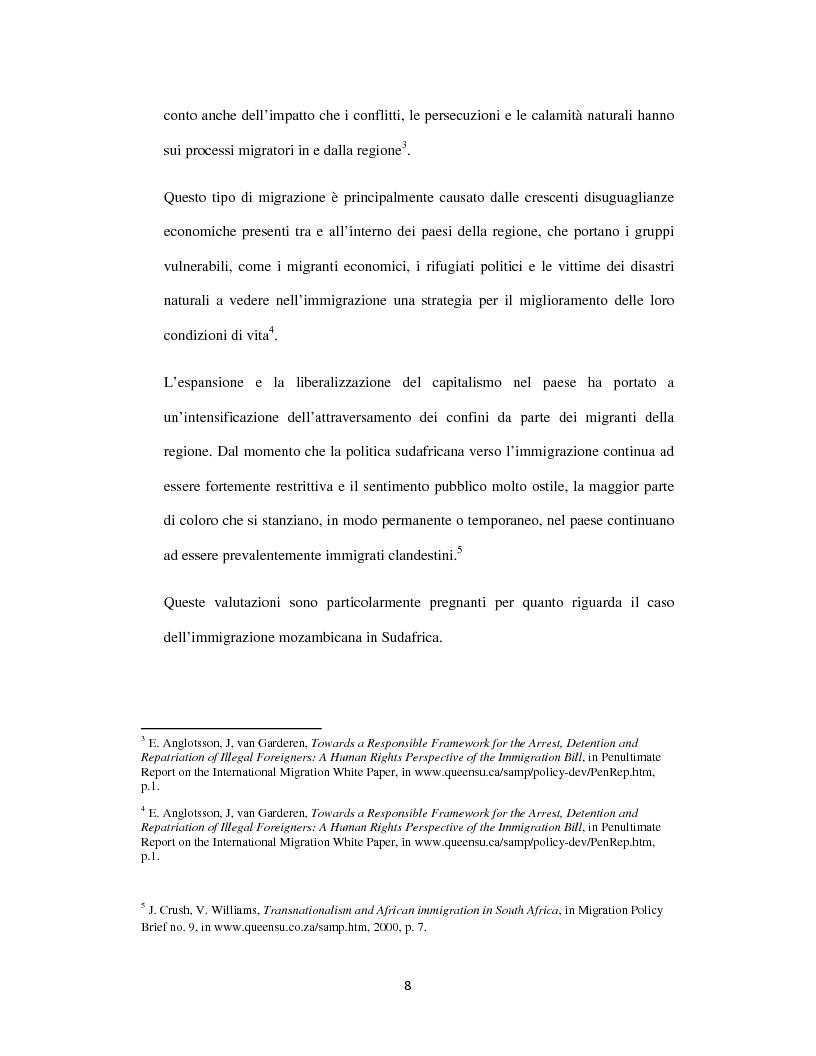 Anteprima della tesi: Sognando la Machamba. L'immigrazione mozambicana nel Sudafrica post-apartheid, Pagina 2