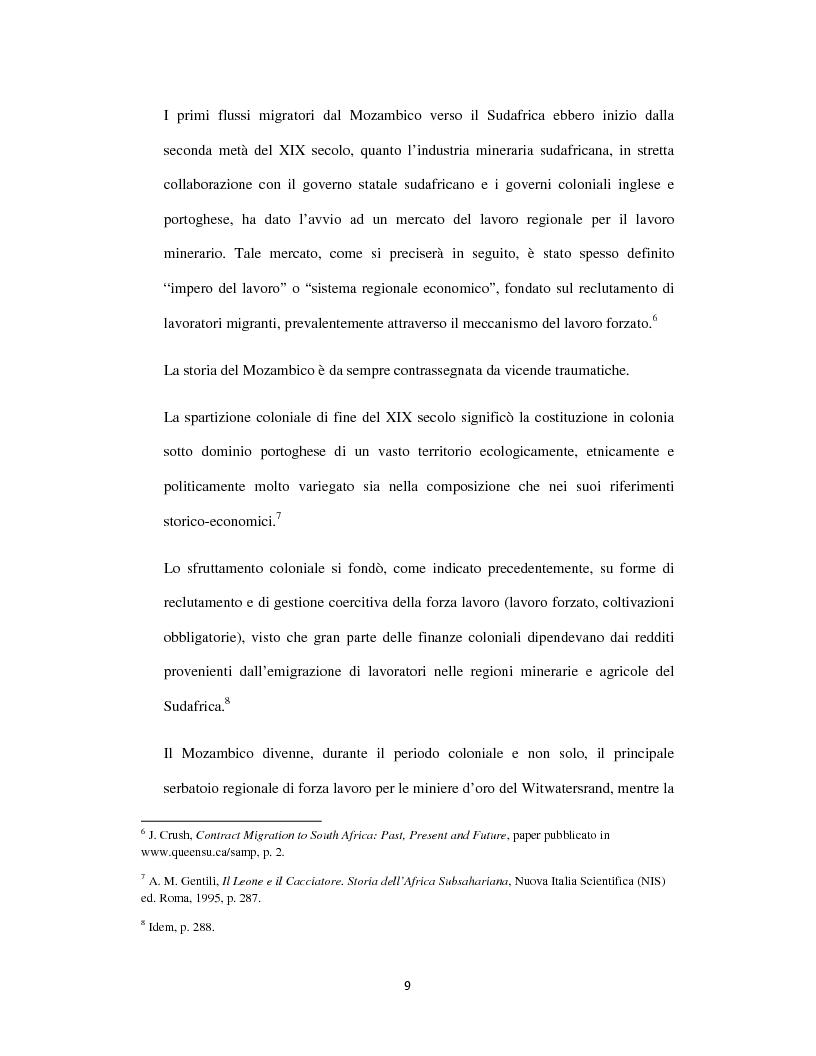 Anteprima della tesi: Sognando la Machamba. L'immigrazione mozambicana nel Sudafrica post-apartheid, Pagina 3