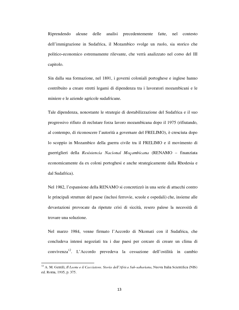 Anteprima della tesi: Sognando la Machamba. L'immigrazione mozambicana nel Sudafrica post-apartheid, Pagina 7