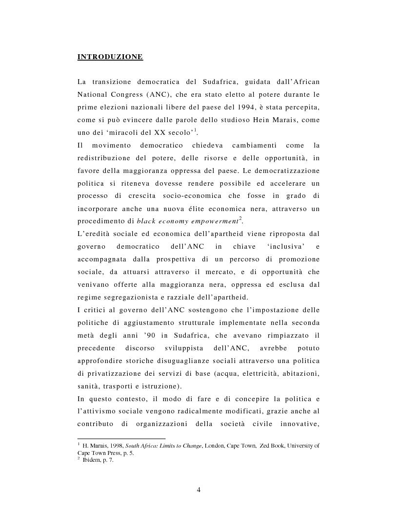Anteprima della tesi: L'African National Congress e i nuovi movimenti sociali in Sudafrica. Il caso di Durban, Pagina 1