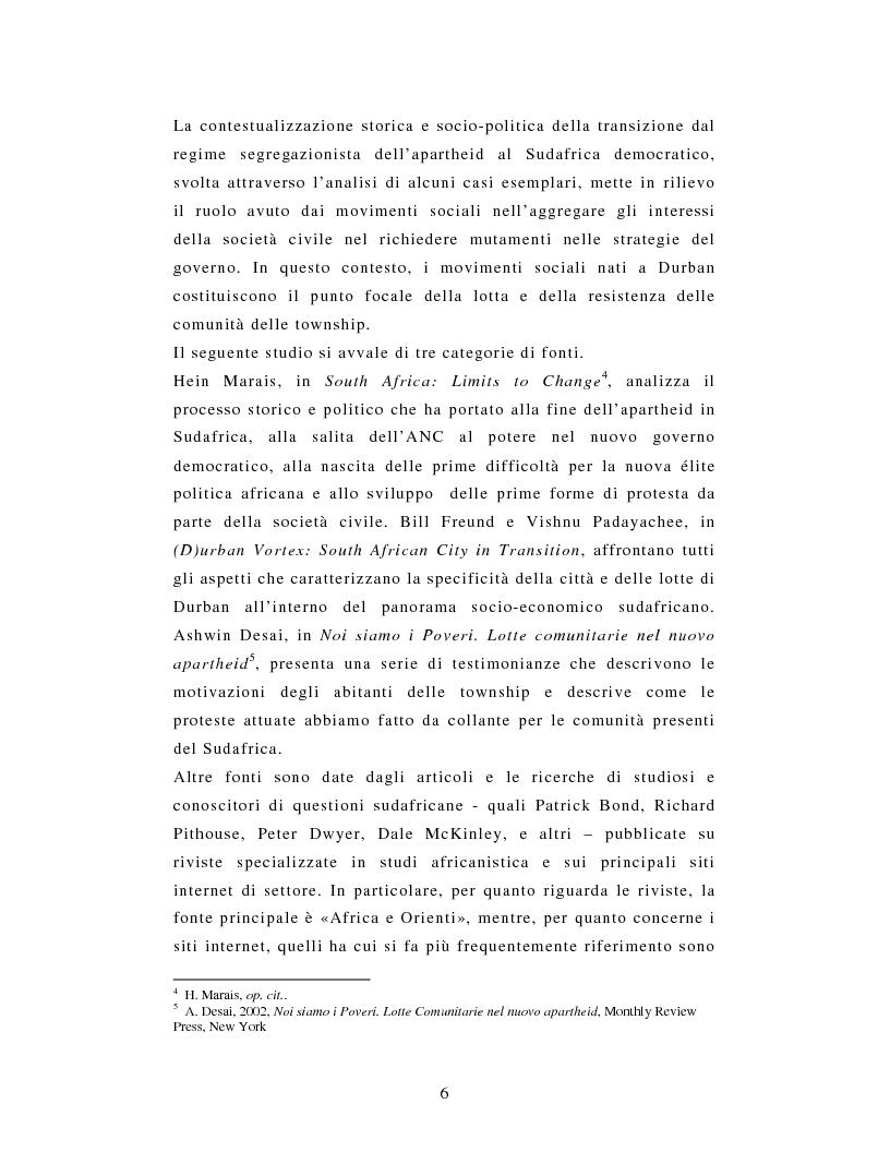 Anteprima della tesi: L'African National Congress e i nuovi movimenti sociali in Sudafrica. Il caso di Durban, Pagina 3
