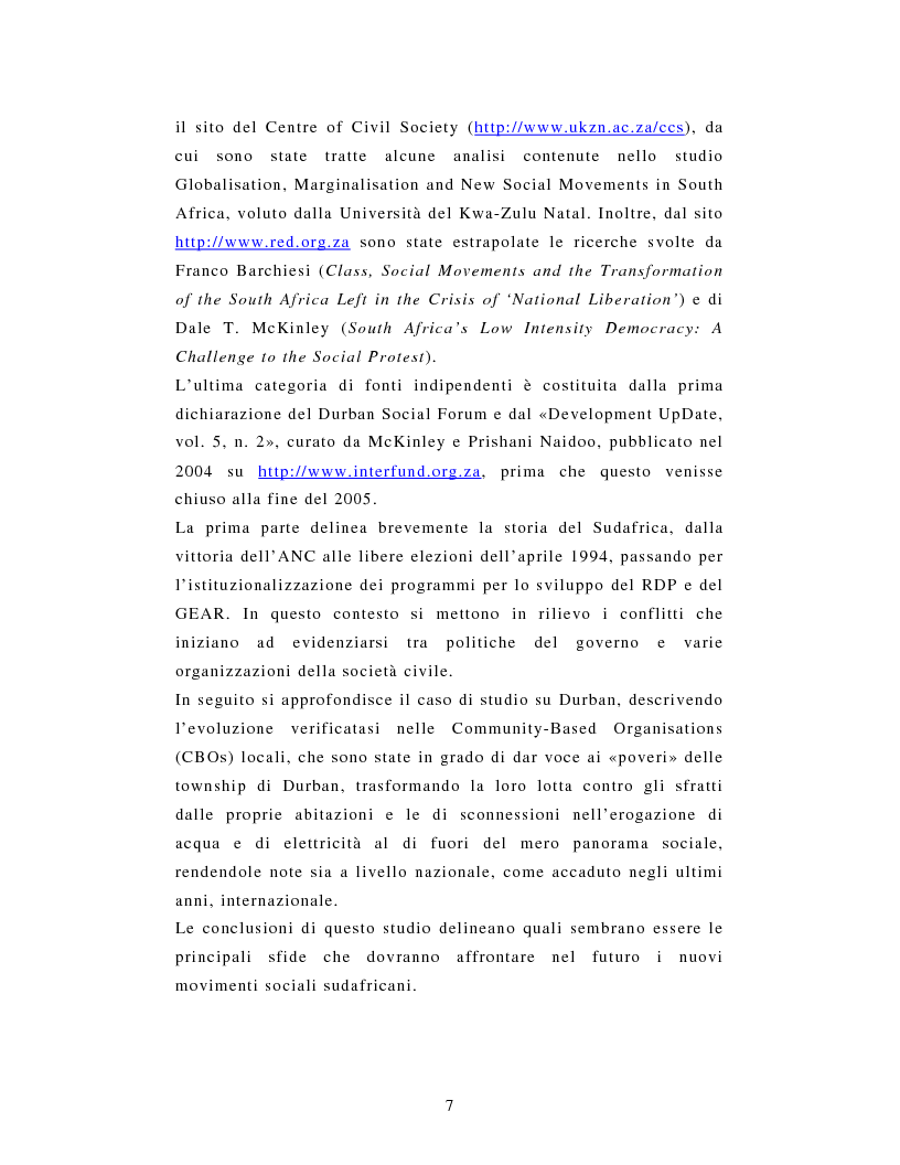 Anteprima della tesi: L'African National Congress e i nuovi movimenti sociali in Sudafrica. Il caso di Durban, Pagina 4
