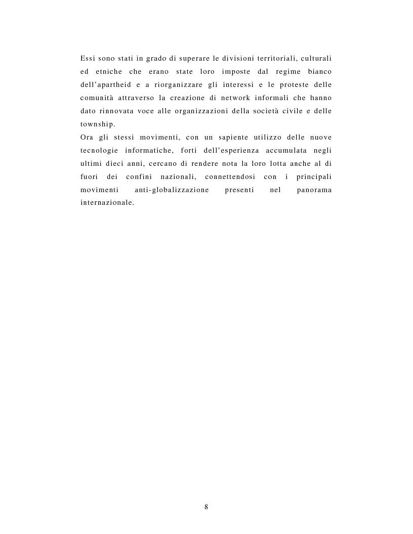 Anteprima della tesi: L'African National Congress e i nuovi movimenti sociali in Sudafrica. Il caso di Durban, Pagina 5