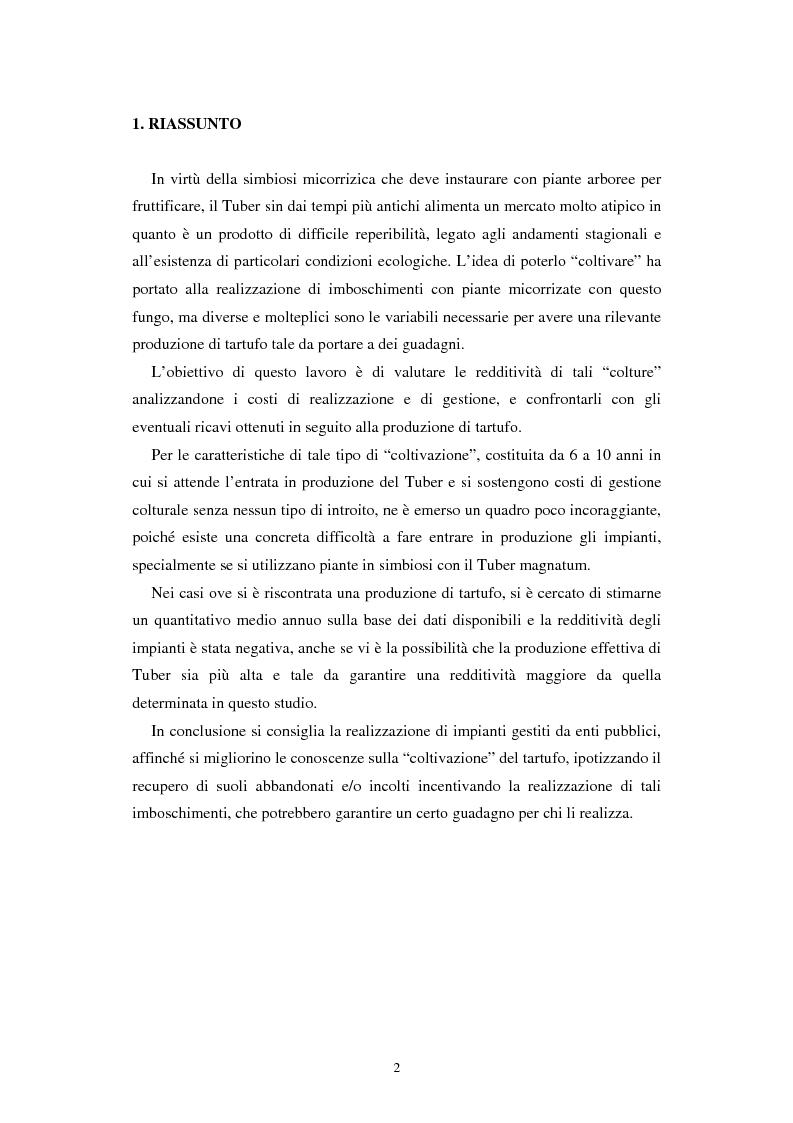 Anteprima della tesi: Un'indagine sulla redditività dei nuovi impianti di tartufo in provincia di Rovigo, Pagina 1