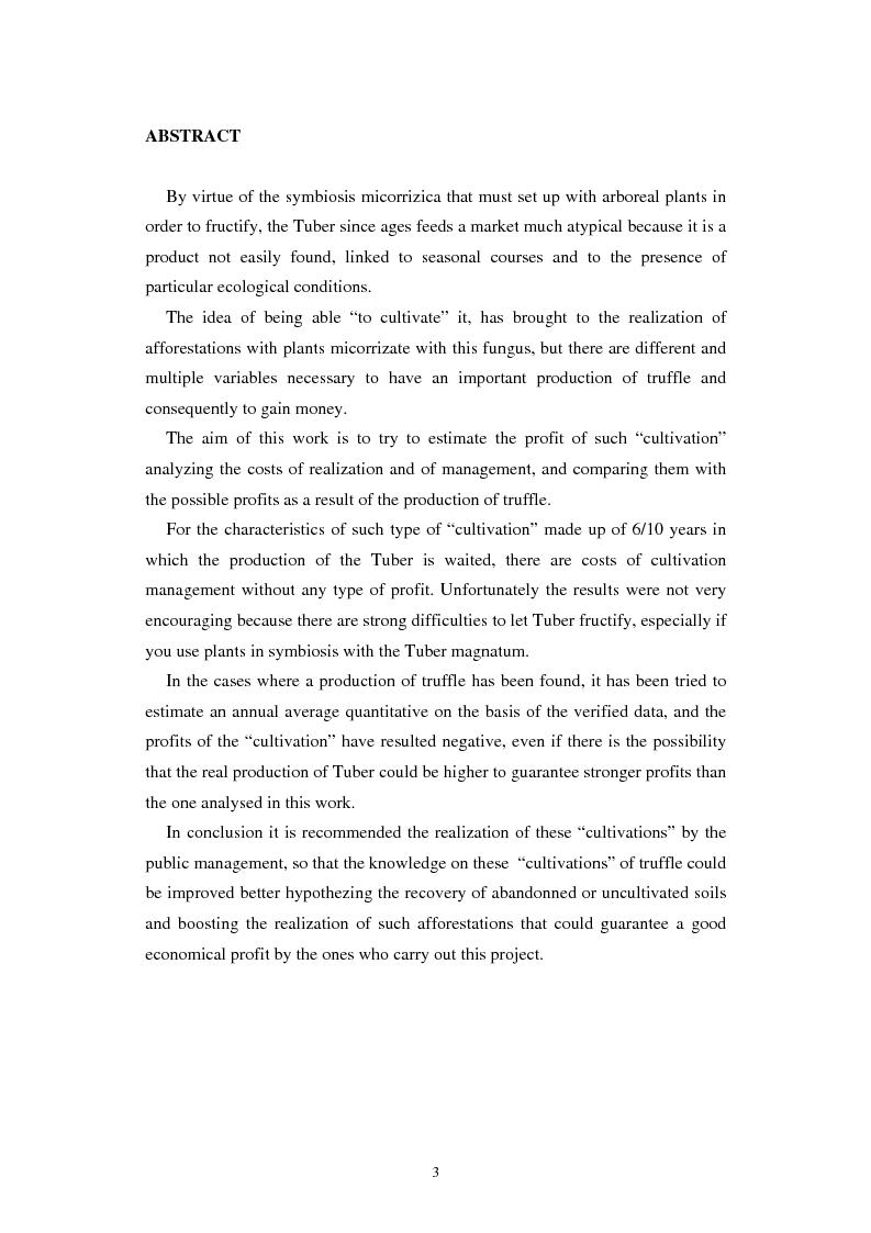 Anteprima della tesi: Un'indagine sulla redditività dei nuovi impianti di tartufo in provincia di Rovigo, Pagina 2