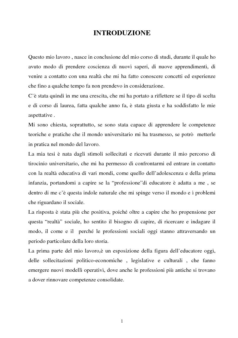 Universit� e formazione dell'educatore professionale - Tesi di Laurea