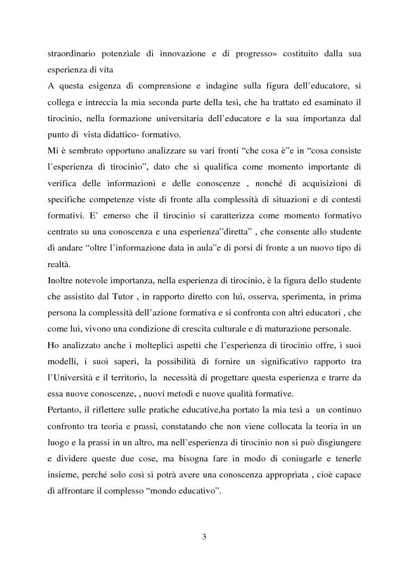 Anteprima della tesi: Università e formazione dell'educatore professionale, Pagina 3